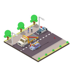 car accident flat isometric vector image