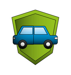car sedan with shield silhouette isolated icon vector image