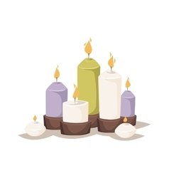 Cartoon burning candles with candle holder vector
