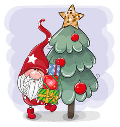 cartoon gnome with gifts near christmas tree vector image