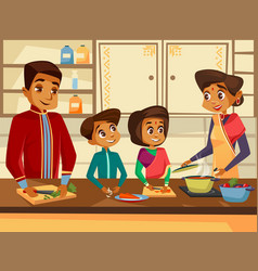 Cartoon indian family at kitchen concept vector