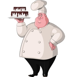Chef holds a tray with cake vector image