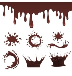 Chocolate splash set vector image