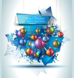 Christmas Modern Background with balls and star vector