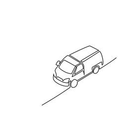 Continuous line isometric drawing pickup truck vector