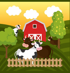 cows in the farm scene vector image