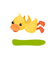 Cute funny little yellow duckling character flying vector