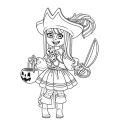 cute girl in pirate costume with a pumpkin bag vector image