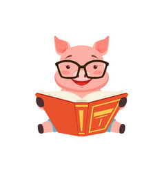 Cute smart pig sitting on the floor anf reading vector