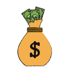 Dollar bills coming out of bag money icon image vector