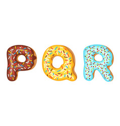 donut icing upper latters - p q r font of vector image