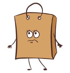 Emoji a sad brown paper bag or color vector