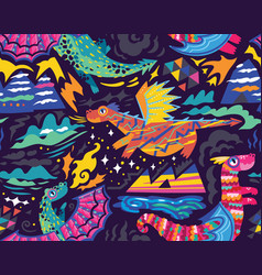 Fairy dragons seamless pattern vector
