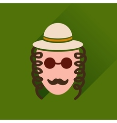 Flat icon with long shadow jewish man vector