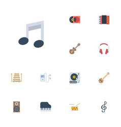 flat icons banjo musical instrument octave vector image