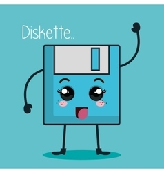 Floppy disk character kawaii style vector