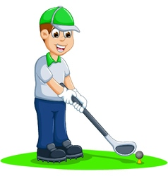 Funny men cartoon playing golf vector
