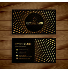 golden premium business card template vector image