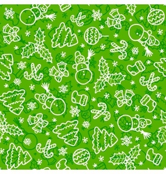 Green christmas seamless pattern in cartoon style vector image