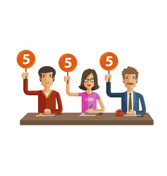 Group of judges jury people hold up scorecards vector