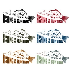 grunge hunting and fishing vintage emblems set vector image