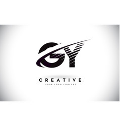 Gy g y letter logo design with swoosh and black vector