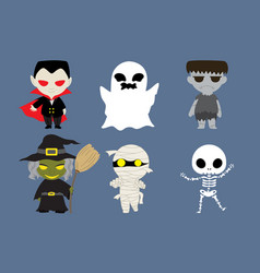 halloween cute cartoon character vector image