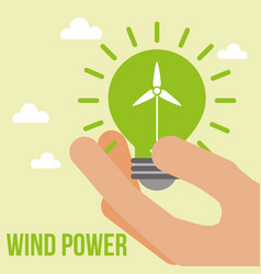hand holding green light bulb wind power vector image