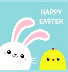 happy easter bunny rabbit chicken bird chick face vector image