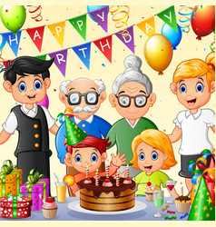 happy family celebrating birthday vector image