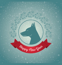 happy new year year dog holiday card vector image