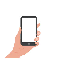 Human hand holding smartphone with empty screen vector