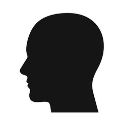 human head profile black shadow silhouette vector image