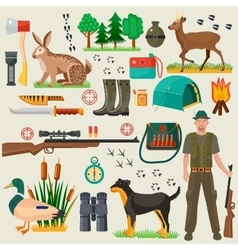 Hunter tourist man male tools and equipment stuff vector image