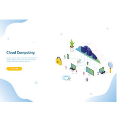 isometric 3d cloud computing concept for website vector image