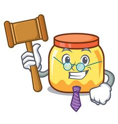 Judge cream jar mascot cartoon vector
