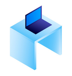 laptop on desktop icon isometric style vector image