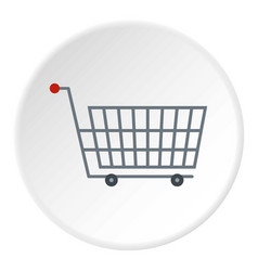 large metal shopping trolley icon circle vector image