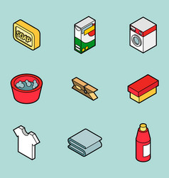 Laundry flat outline isometric icons vector
