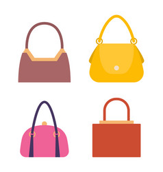 Leather handbags bags with handles and locks set vector