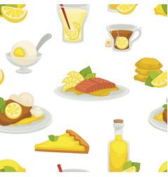 lemon and lemonade oil in glass bottle seamless vector image