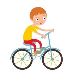 Little happy boy on his sport bike vector image
