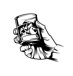 Male hand holding glass whiskey vector