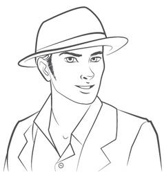 Man Wearing Hat vector image
