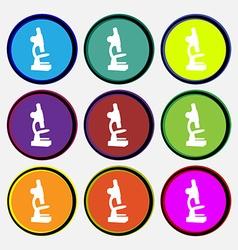 Microscope icon sign Nine multi colored round vector image
