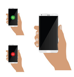 Mobile phone in man hand set vector