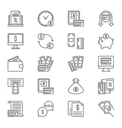 money and payment icons set in thin line vector image