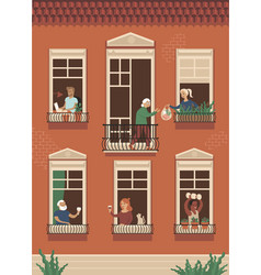 neighbor people life through open windows vector image