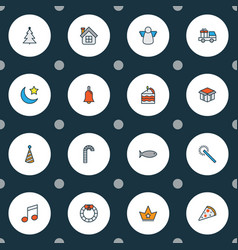new icons colored line set with candy cane cake vector image