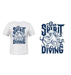 Octopus mascot t-shirt print mockup vector
